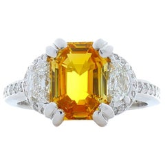 3.55 Carat Emerald Cut Yellow Sapphire and Half Moon Diamond Cocktail Ring