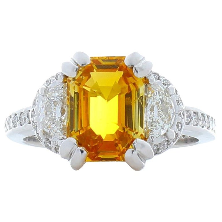 26fc2c355bcb5 3.55 Carat Emerald Cut Yellow Sapphire and Half Moon Diamond Cocktail Ring