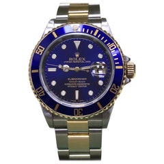 Rolex Submariner 16613 Blue 18 Karat Gold and Stainless Steel Box and Booklet