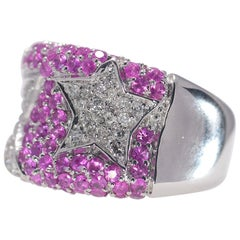 All Natural Pink Sapphire and Diamond .47 Carat 14 Karat White Gold Ring