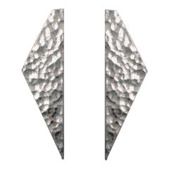 AGMES Sterling Silver Long Textured Sculptural Hand Hammered Abstract Earrings