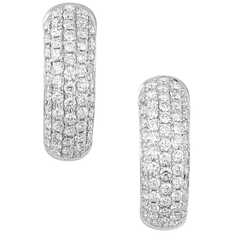 e351092479e78 Pave White Gold Diamond Huggie Earrings