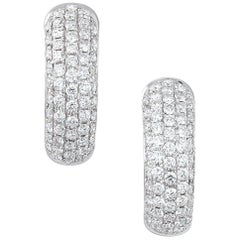 Pave White Gold Diamond Huggie Earrings