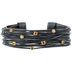Boaz Kashi Oxidized Sterling Silver Wire Ruby Diamond Cuff