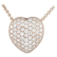 5.07 Carat Diamond Heart 14 Karat Rose Gold Pave Pendant Necklace with Chain