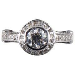 2.00 Carat Round Brilliant Diamond Halo 14 Karat White Gold Engagement Ring
