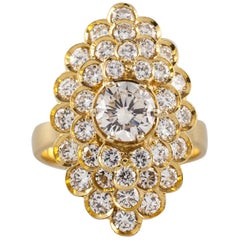 2.72 Carat Diamond Solitaire 18 Karat Gold Cluster Ring with GIA Certified