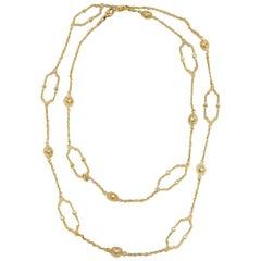 Judith Ripka Diamond Chelsea Link 18 Karat Yellow Gold Necklace