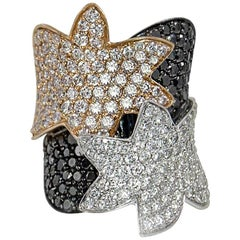 Black Diamond & White Diamond Ring Pave Set in 18 Karat White Gold & Yellow Gold