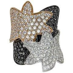 Ring aus 18 Karat Weiß- und Gelbgold mit Pavé aus schwarzen und weißen Diamanten