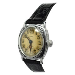 Stunning Art Deco White Gold Filled Gents Wristwatch by Elgin