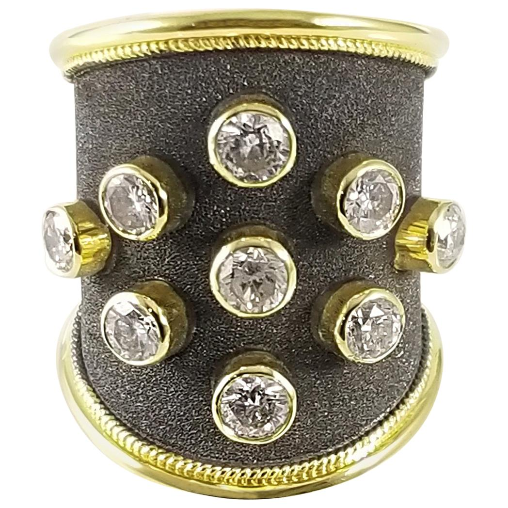 Georgios Collections 18 Karat Yellow Gold Diamond Black Rhodium Thick Band Ring