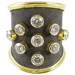 Georgios Collections 18 Karat Yellow Gold Diamond Ring with Black Rhodium