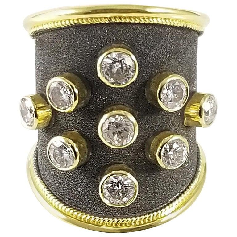 Georgios Collections Ring aus 18 Karat Gelbgold mit Diamanten und schwarzem Rhodium 1