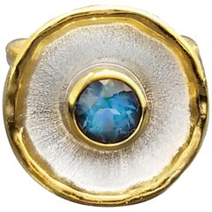 Yianni Creations 1.55 Carat Blue Topaz Ring in Fine Silver and 24 Karat Gold