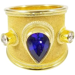 Georgios Collections 18 Karat Yellow Gold Tanzanite Pear Shape and Diamond Ring