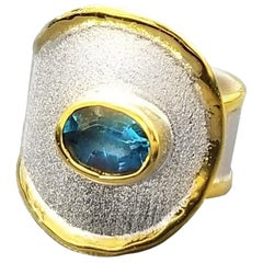 Yianni Creations 1.60 Blue Topaz Artisan Ring in Fine Silver and 24 Karat Gold