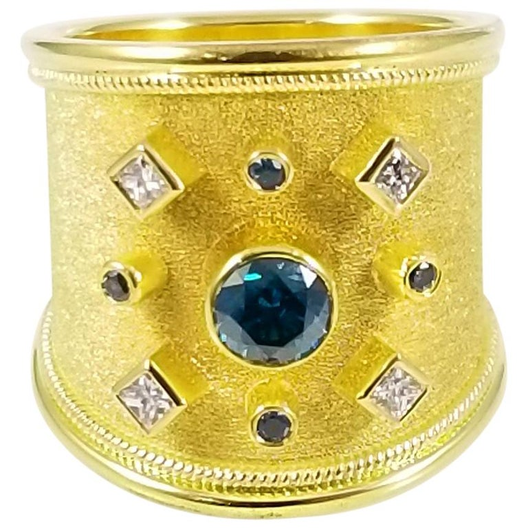 Georgios Collections 18 Karat Yellow Gold Blue and White Diamond Thick Band Ring For Sale