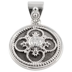 Georgios Collection 18 Karat White Gold Diamond Pendant with Granulation work