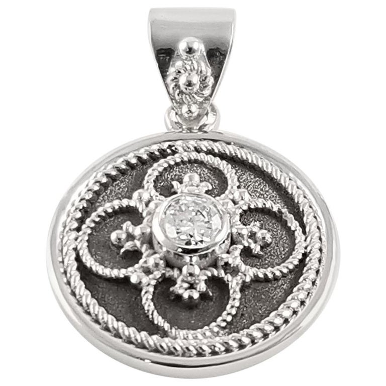 Georgios Collection 18 Karat White Gold Diamond Pendant with Granulation work For Sale