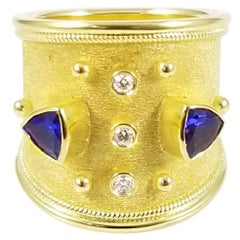 Georgios Collections 18 Karat Yellow Gold Tanzanite and Diamond Ring