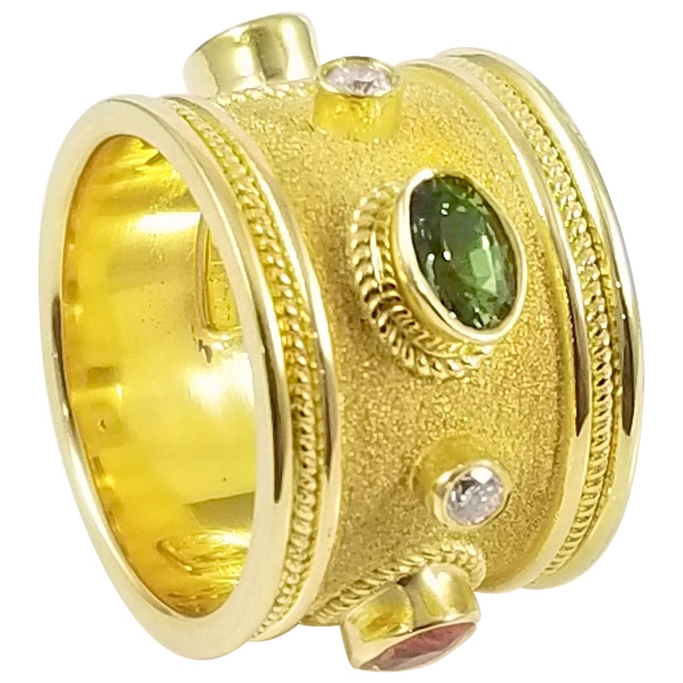 Georgios Collections 18 Karat Yellow Gold Diamond and Multi Sapphire Band Ring
