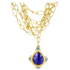 22K Gold Link Necklace with 45 Carat Tanzanite, Ethiopian Opal & Diamond Pendant