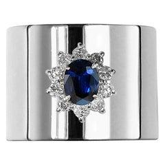0.870 Carat Sapphire 0.350 Carat Diamond Platinum Wide Band Ring