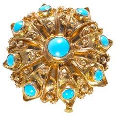 Round Cabochon Turquoise Pin / Pendant 18 Karat Yellow Gold 16.30 Grams