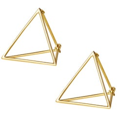 18 Karat Yellow Gold Triangle Pair Earrings