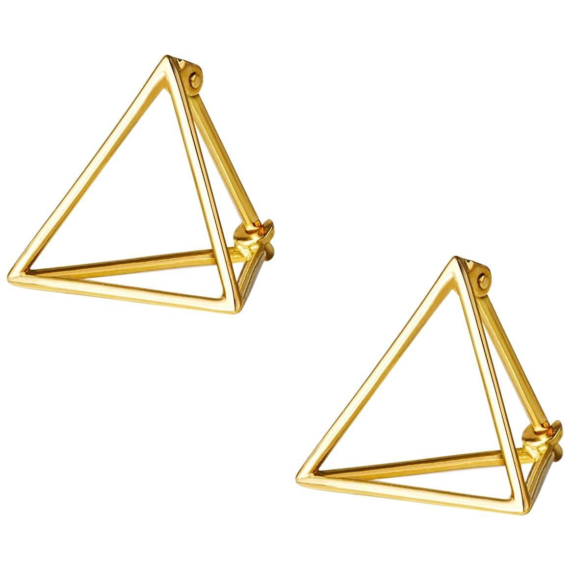18 Karat Yellow Gold Triangle Pair Earrings