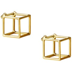 18 Karat Yellow Gold Square Pair Earrings