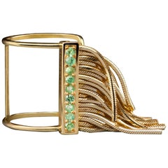 Iosselliani 9 Karat Yellow Gold Fringed Open Ring with Green Sapphires Pavé