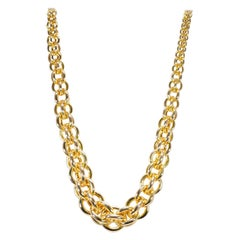 Graduated Fancy Open Link Gold 14 Karat Yellow Gold Necklace 38.40 Grams