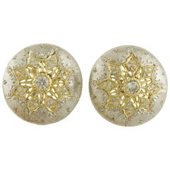 Diamonds White and Yellow Gold Clip-On Earrings