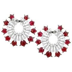18 Karat Nature Inspired Natural Burmese Spinel Cabuchon and Diamond Earrings
