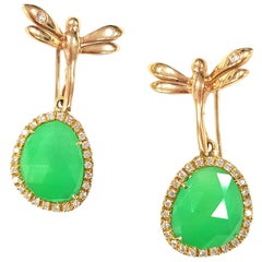 Jade  Gold Dragonfly Drop Earrings
