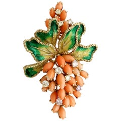 1960s Coral and 1.46 Carat Diamond Enamel and Yellow Gold Floral Brooch