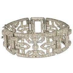 Glamorous Art Deco Diamond Platinum Bracelet
