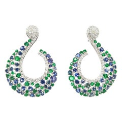 BOON Twirl Emerald Sapphire Diamond Cluster Gold Pierced Earrings