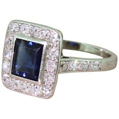 Midcentury 0.95 Carat Sapphire and 0.31 Carat Diamond Cluster Ring