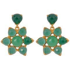 Emma Chapman Chrysoprase Green Onyx Gold Plate Earrings