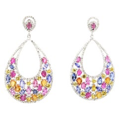 BOON Pink Yellow Blue Sapphire Diamond Gold Chandelier Earrings