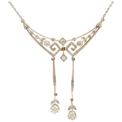 1900s Antique 1.22 Carat Diamond and Yellow Gold Platinum Set Necklace
