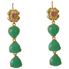 Emma Chapman Chrysoprase Tourmaline Tierdrop Statement Gold Plate Earrings