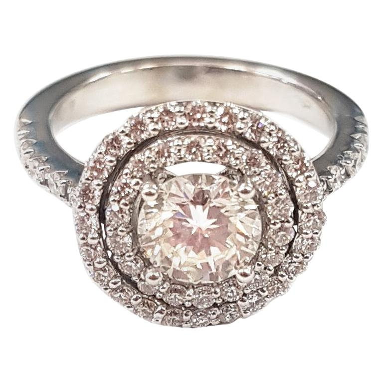 Double Halo Diamond and 18 Karat White Gold Ring For Sale