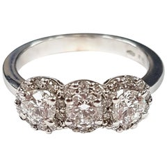 Triple Diamond 18 Karat White Gold Cluster Ring