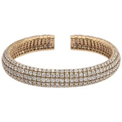 12.40 Carat Flexible Diamond Bangle Bracelet 18 Karat Yellow Gold Open Cuff