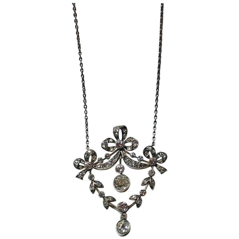 Art Nouveau Necklace Brooch Gold 585 Diamonds '3.0 Carat' by Halder Vienna For Sale