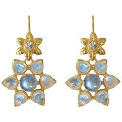 Emma Chapman Moonstone Aquamarine Gold Plate Earrings